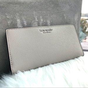 Kate Spade Grey Large Slim Bifold Wallet